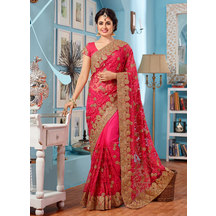 Pink Net Resham Embroidered Saree With Unstitched Blouse Material