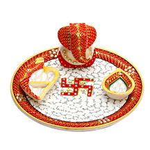 Marble Pooja Thali With Diya, Chopra & Ganesh Figurine - Otherspiritualitems By Apnorajasthan