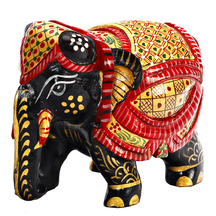 Beautiful Handpainted Wooden Elephant In Black, Red & Golden - Statues By Apnorajasthan