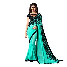 Green Georgette Embroidered Saree With Blouse