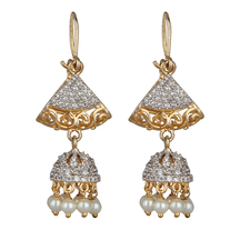 M Creation 18k Gold Plated White Coloured Stone, Shell Pearl & Gold Plated Hanging Earrings For Women(et028)
