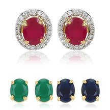 M Creation Multicolor Gold-plated Stud Earrings For Women/girls(6 In 1 Interchangeable Earring)