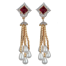 M Creation Gold Plated Square Shaped Ruby Long Chain Pearl Fashion Earrings For Women(et029)