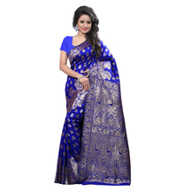 Shree Sanskruti Self Design Banarasi Silk Blue Color Saree For Women