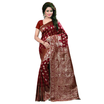 Designer Banarasi Art Silk Maroon Saree With Blouse