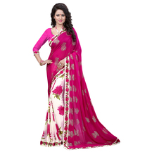 Pink & White Georgette Floral Print Saree With Blouse