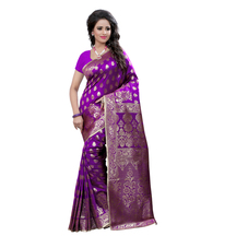 Shree Sanskruti Self Design Banarasi Silk Purple Saree For Women
