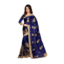 Blue Chiffon Embroidered Saree With Blouse