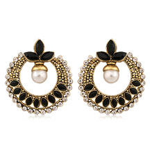 Inaya Gorgeous Coloured Black Chaton And High Gold Look Fashion Chandbali Earring With