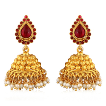 Inaya Maroon Coloured Crystal And Gold Plated Jhumki Earring