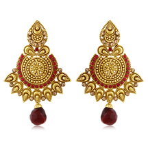 Inaya High Gold Maroon Metal Earring