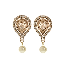 Inaya Best Selling Pink Stone With Pearl Earring