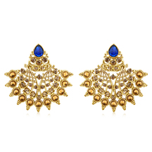 Inaya Blue Chaton And Man-made Chanbali Earrings In High Gold Look