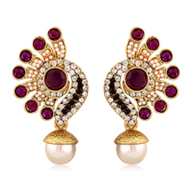Inaya Purple And Gold Filigiree Earring With Pearl