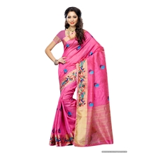 Mimosa Women\'stassar Silk Saree With Hand Embroidery Color: Pink(3220-2085-emb-pink)