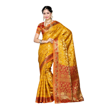 Mimosa Women\'s Traditional Art Silk Saree Kanjivaram Style With Blouse Color:gold(3297-153-gld-mrn )