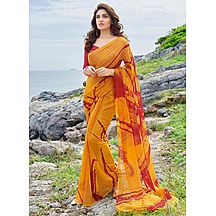 Saara Yellow And Red Printed Georgette Casual Wear Saree With Unstitched Blouse 186s9005
