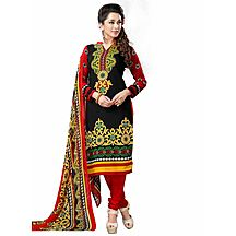 Saara Unique Black And Red Printed Dress Material With Dupatta