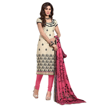Sareemall Beige Embroidered Dress Material Suit With Matching Dupatta