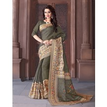 Grey Casual Khadi Silk Madhubani Printed Saree With Unstitched Blouse