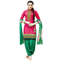 Sareemall Pink Embroiered Dress Material With Matching Dupatta