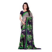 Blue & Green Faux Georgette Floral Print Saree With Blouse