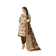 Florence Clothing Company Beige Embroidered Chanderi Cotton Salwar Suit With Dupatta