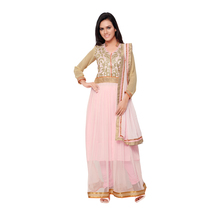 Florence Clothing Company Pink Embroidered Georgette Salwar Suit With Dupatta