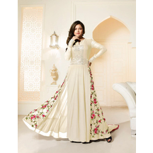Skyblue Fashion White Color Georgette Embroidered Anarkali Party Wear Suit