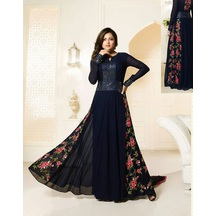Skyblue Fashion Blue Color Georgette Embroidered Anarkali Party Wear Suit