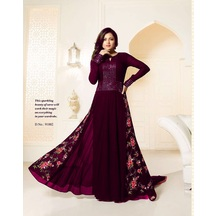 Skyblue Fashion Pink Color Georgette Embroidered Anarkali Party Wear Suit