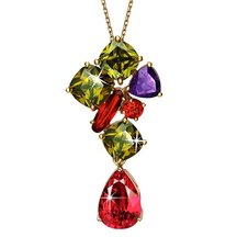Floral Drop Multicolor Swiss Cubic Zirconia  Plated Pendant - Necklaces By Crunchyfashion