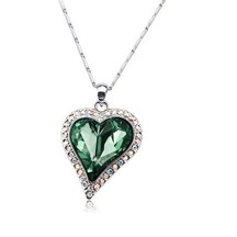 Swarovski Elements Bleaming  Emerald Silvery Heart  Pendant - Necklaces By Crunchyfashion