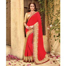 Triveni Red Border Worked Faux Georgette,brasso,art Silk Saree With Blouse
