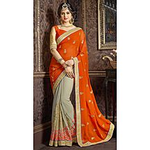 Triveni Grey Embroidered Faux Georgette Saree With Blouse