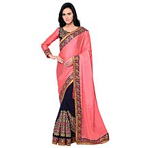 Triveni Remarkable Blue Colored Embroidered Georgette Satin Saree