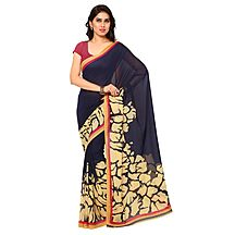 Blue Colored Printed Faux Georgette Saree With Blouse