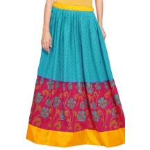 Admyrin Blue And Magenta Cotton Printed Skirt