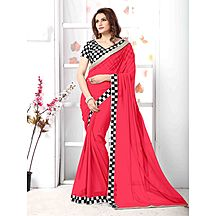 Coral Chiffon Plain Saree With Blouse