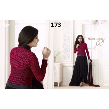 173_red And Black Straight Salwar Suit