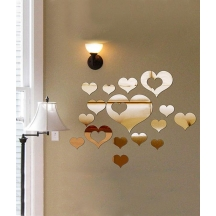 Stylish Love Hearts Decorative Shatterproof Dining Kitchen Bathroom Wall Mirror