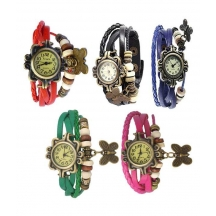 Multi Colour Leather Strap Wrist Watches - Pack Of 5