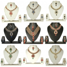 Kundan Gold Plated Necklace Earring Set With Mang Tika Combo Of 9 Sets