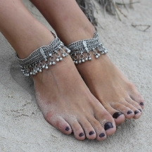 Silver Chain Antique Anklet Pair