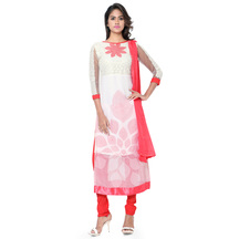 Fabliva  New Designer Embroidered White Straight Suits