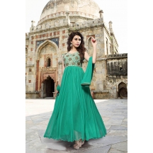 Fabliva Sea Green Net Embroidered Stitched Anarkali Suit