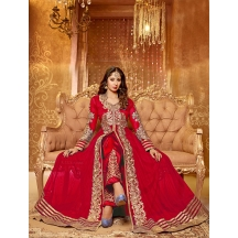 Fabliva Red & Beige Embroidered Net Semi-stitched Anarkali Suit