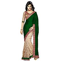 Florence Green Velvet Embroidered  Saree
