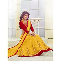 Florence Yellow Net Semistiched Embroidered Lehenga