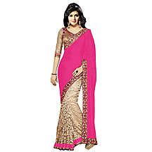 Florence Pink Velvet Embroidered  Saree